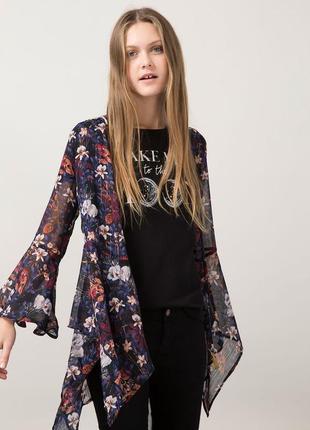 Брендовая блуза кимоно накидка bershka бангладеш люрекс принт цветы этикетка