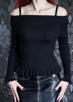 Теплая кофточка, черная кофта с открытыми плечами