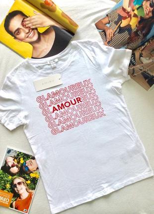 Футболка белая базовая с надписью amour glamoureux, amisu
