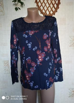 Блуза с длинным рукавом, гипюр, цветочный принт