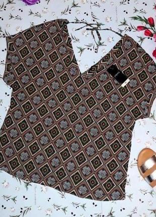 🎁1+1=3 фирменная нарядная блуза блузка блузон в принт papaya, размер 46 - 48