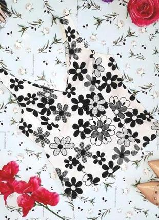 🎁1+1=3 стильная белая блуза блузка топ в цветочный принт new look, размер 42 - 44