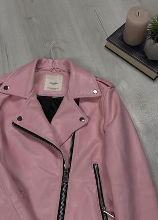 N8 кожанка косуха mango розовая женская короткая стильная