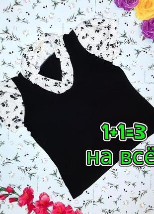 🎁1+1=3 оригинальная стильная черная блуза блузка блузон, размер 50 - 52
