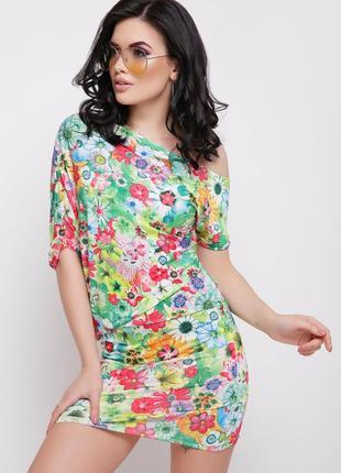 Шик! новое восхитительное платье в яркие цветы! открытое плечо! как asos, zara, h&m,