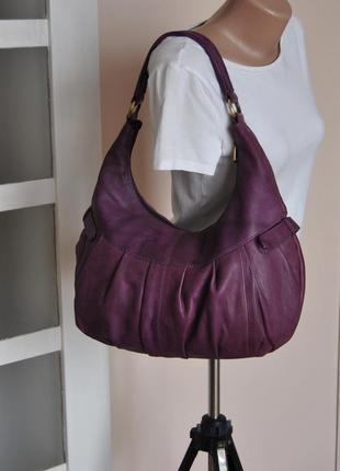 Кожаная сумка хобо tommy & kate / шкіряна сумка