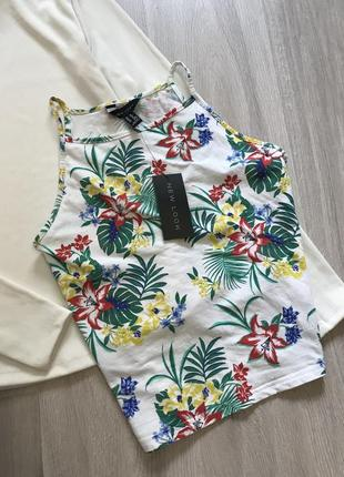 Майка футболка кроп-топ в квітковий принт на бретельках / топик в цветочный принт новый