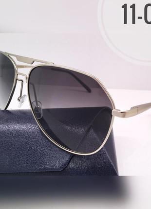 Мужские солнцезащитные очки серые линзы градиент поляризованные