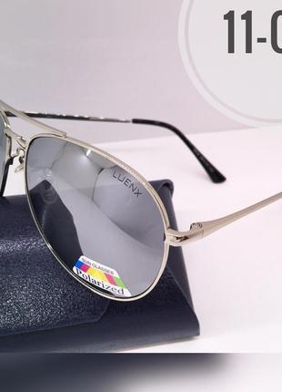 Мужские солнцезащитные очки авиаторы зеркальные серебристые линзы поляризованные
