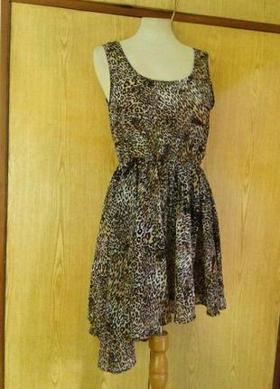 Крепдешиновое платье с леопардовым принтом, l.