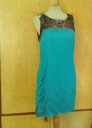 Вискозное платье цвета морской волны с серебряными паетками, l.