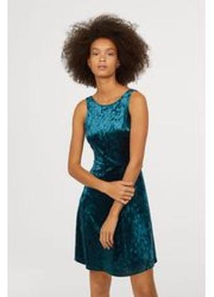 Новое! велюровое платье с v-образным вырезом на спинке h&m