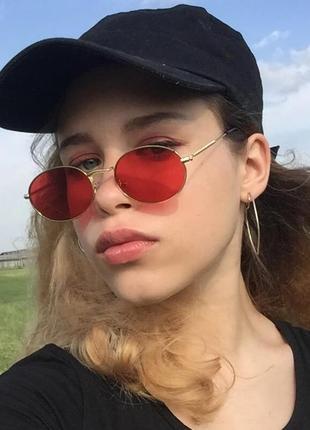 Красные овальные очки, унисекс