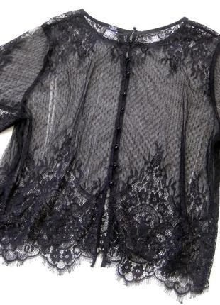 Блузка h&m чёрная ажурная кружевная полупрозрачная пуговицы сзади