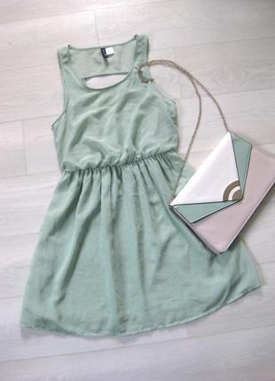 Платье h&m бирюзовое мятное голубое шифоновое летнее