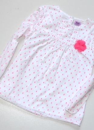 Очень красивая хлопковая блуза трапеция с вышивкой  и цветком, 5-6 лет