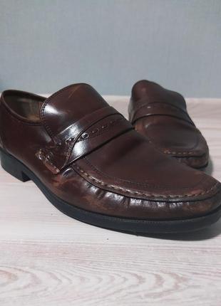 Коричневые туфли мокасины лоферы clarks 28см