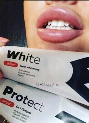 Зубная паста без фтора и сульфатов sklaer отбеливающая для чувствительных