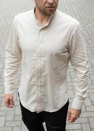 Стильная рубашка льняная, воротник стойка