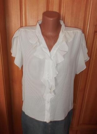 Блуза с рюшами легкая стильная крепдышин белая рубашка р. xl