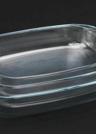 Набор стеклянных жаропрочных противней (3шт)