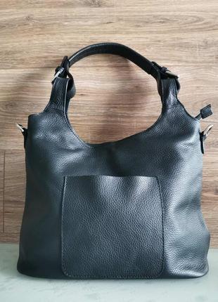 Женская черная кожаная сумка с короткой ручкой, vera pelle