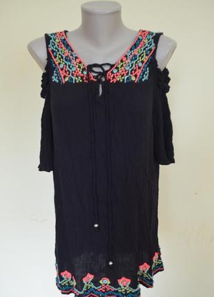 Шикарная брендовая вискозная блузочка вышиванка с кружевом