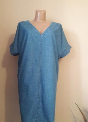 Джинсовое платье) zara mex 30 пог 72