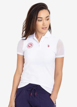 Белая футболка polo assn , p. m,l