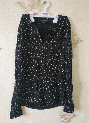 Лёгкая женская рубашка # принт птички # вискозная блузка # attachment