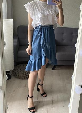 Натуральная юбка с имитацией запаха и оборками zara