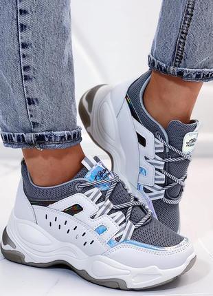 Новые шикарные женские бело-серые кроссовки ⭕️распродажа⭕️