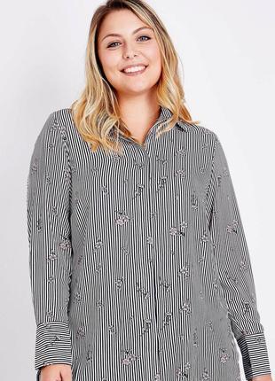 Крутая рубашка в полоску в цветочный принт размер 22 (54-58)