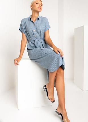 Стильное и практичное платье-рубашка прямого силуэта с воротником стойка