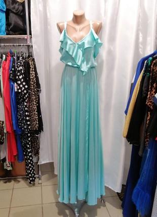 Красивое платье в пол с воланами и эффектом запаха эко шёлк