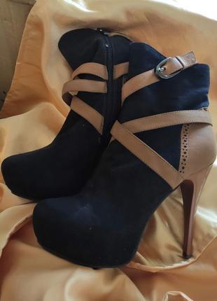 Сапоги темно синие  / ботинки на шпильке / черные / коричневые / полусапожки на каблуке