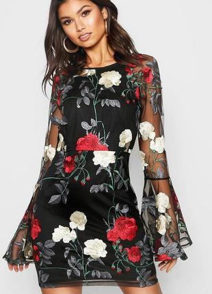 Платье-сетка с вышивкой boohoo (р.m)