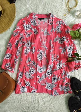 Яркий легкий жакет пиджак накидка кардиган в цветочек