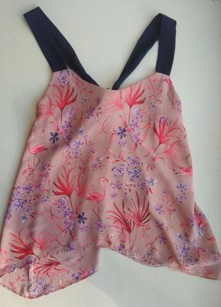 Шифоновая блуза блузка топ на бретелях тропический принт george 40 р.l