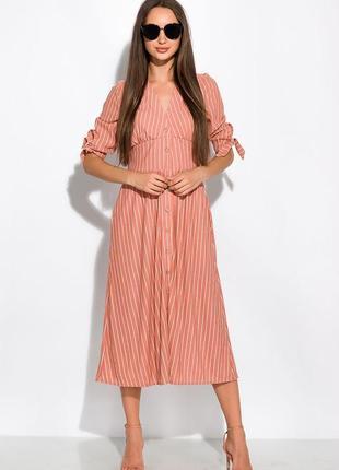 Приталённое платье в полоску