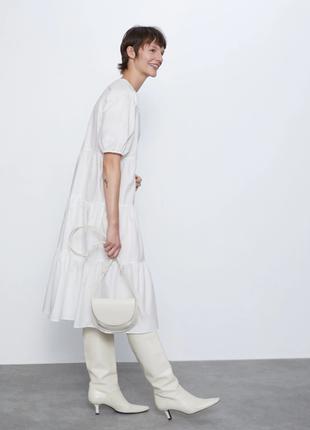 Роскошное свободное белое хлопковое платье из поплина zara