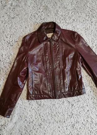 Бордовая кожаная куртка, кожаный пиджак, натуральная кожа, next