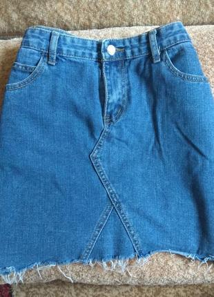 Юбка джинсовая трапеция рваная синяя базовая котон потороченная