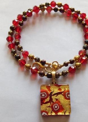 Ожерелье с подвеской из муранского стекла. италия