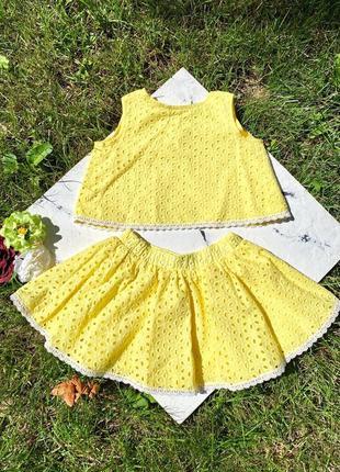 Натуральный костюм юбка топ для девочки