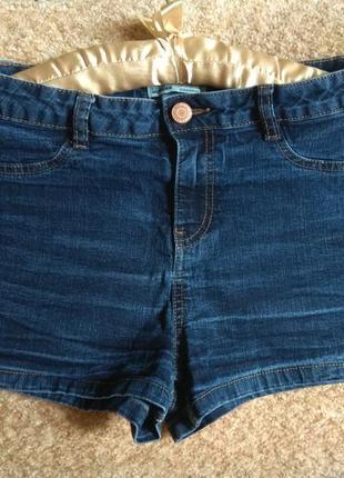 Шорты джинсовые высокие синие пуш-ап