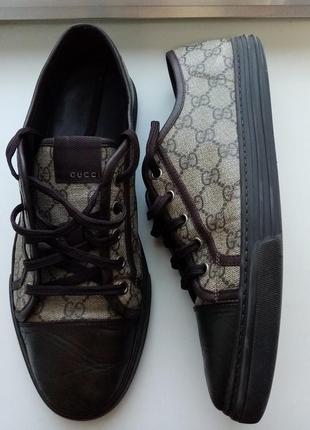 Кожаные кроссовки(кеды) gucci  309462 gg supreme (оригинал)