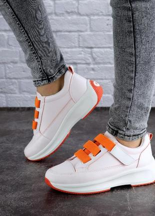 Женские светло розовые кроссовки, оранжевые, кожаные 38 39 размер