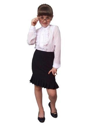 Блузка детская для девочек белая м-979 рост 128 134 140 146 152 158 164 и 170