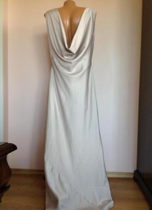 Елегантное длинное серебристое платье/46/brend barbara scwarzer